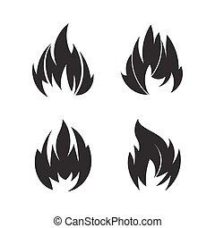 入れ墨, セット, 火, 黒, 4, デザイン, ∥あるいは∥