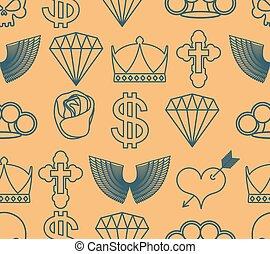 入れ墨, ダイヤモンド, 頭骨, 心, バラ, 王冠, seamless, cross., arrow., dollar., knuckles., 真ちゅう, pattern., 翼