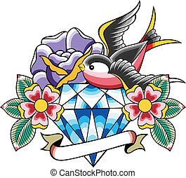 入れ墨, ダイヤモンド, 鳥, 花