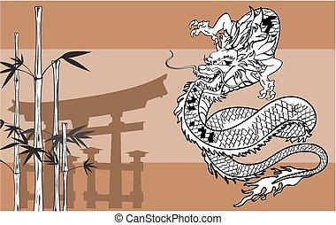 入れ墨, ドラゴン, 日本語, background6