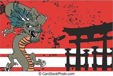 入れ墨, ドラゴン, background2, 日本語