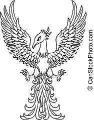 入れ墨, フェニックス, 隔離された, 背景, 白い鳥