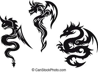 入れ墨, ベクトル, ドラゴン