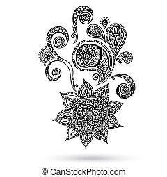 入れ墨, ペイズリー織, henna, mehndi, 花, doodles.