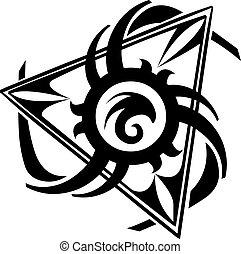 入れ墨, 三角形, デザイン, 型, engraving.