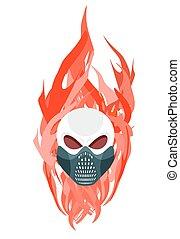 入れ墨, 保護である, 頭骨, flames., マスク, に対して, ベクトル, アートワーク, 背景