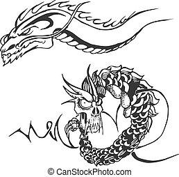 入れ墨, 型板, 強力, 2, ドラゴン