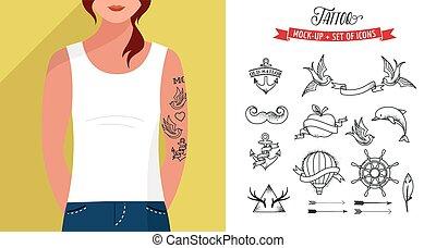 入れ墨, 平ら, セット, tシャツ, ベクトル, テンプレート, 女の子