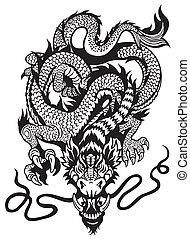 入れ墨, 白, 黒, ドラゴン
