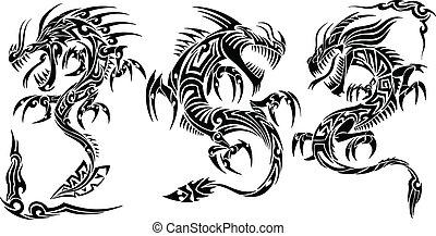 入れ墨, 種族, ベクトル, セット, ドラゴン