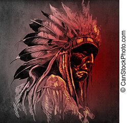 入れ墨, 芸術, 肖像画, の, アメリカインディアン, 頭, 上に, 暗い背景