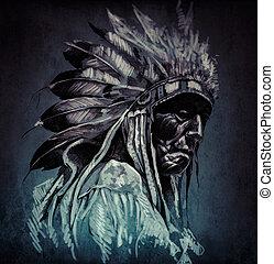 入れ墨, 芸術, 肖像画, の, アメリカインディアン, 頭, 上に, 暗い, backgroun