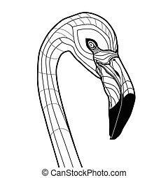 入れ墨, 頭, フラミンゴ, 隔離された, イラスト, ベクトル, デザイン, 背景, 白, スケッチ, 鳥, tシャツ