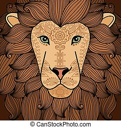 入れ墨, 頭, 要素,  Henna, ライオン