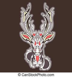 入れ墨, 頭, 鹿, デザイン