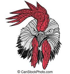 入れ墨, 頭, cock., 隔離された, イラスト, おんどり, バックグラウンド。, ベクトル, デザイン, 鶏, 白い tシャツ