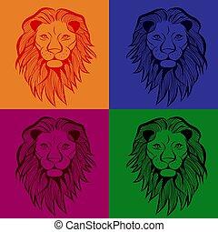 入れ墨, 頭, t-shirt., スケッチ, イラスト, seamless, ライオン, ベクトル, 動物, design.