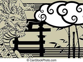 入れ墨, baboo, アジア人, 背景, ドラゴン