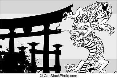 入れ墨, background4, 日本語, ドラゴン