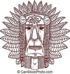 入れ墨, indian, -, イラスト, 顔, ベクトル