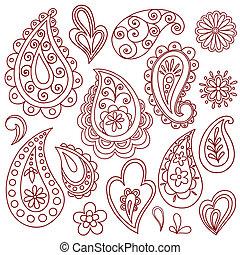 入れ墨, mehndi, henna, vectors, doodles
