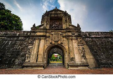 入口, へ, 城砦, サンティアゴ, 中に, intramuros, マニラ, ∥, フィリピン。