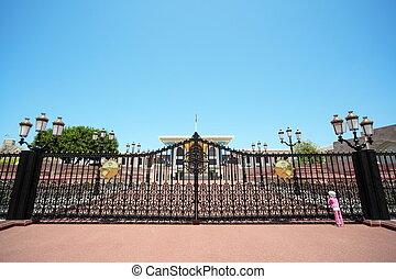 入口, へ, ∥, sultan's, 宮殿, 中に, oman., 女の子, 身に着けていること, パナマ帽子, ∥見る∥, 建物。