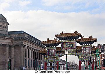 入口, アーチ道, 中国語, liverpools, chinatown, 出入口