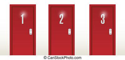 入口, デザイン, 数, イラスト, ドア