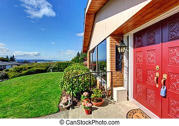 入口, ドア, ポーチ, 家, 現代, 赤