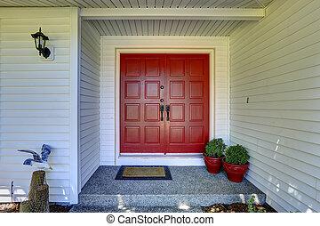 入口, ドア, 赤, ポーチ