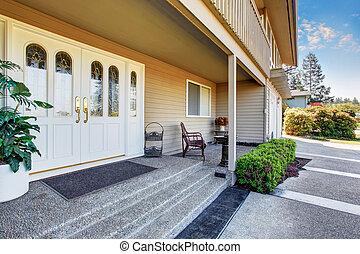 入口, ポーチ, ダブル, 広い, ドア, 前部, 白, home., 贅沢