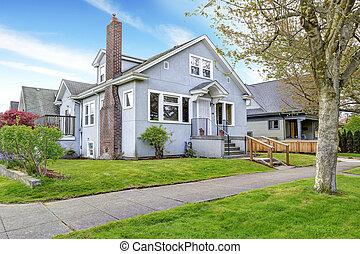 入口, ポーチ, 単純である, 家, 通り道, exterior., 光景
