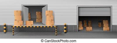 入口, ローディング, サービス, 出産, ベクトル, 倉庫