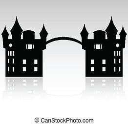 入口, 到, 城堡
