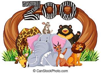 入口, 動物, 印, 動物園