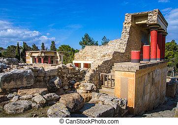入口, 北, 宮殿, ギリシャ, フレスコ画, 充満, knossos, 雄牛, crete