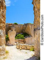 入口, 古い, 島, 採石場, 日当たりが良い, des'hostal, menorca, 日