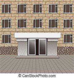 入口, 名前, 看板, 建物, 舗装, 前部, あなたの, 空