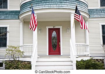入口, 对于, a, 房子, 在中, 美国