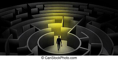 入口, 暗い, 中央, ビジネスマン, 選択, ∥間に∥, 迷路