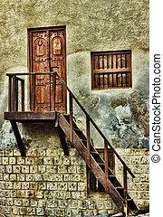 入口, 木制的门, 在中, 一, 老, 房子