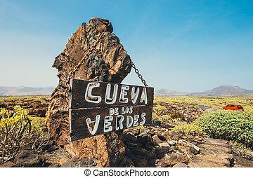 入口, 火山, 洞穴, 絵のよう, lanzarote, cueva, カナリア, los, de, 島, verdes, スペイン