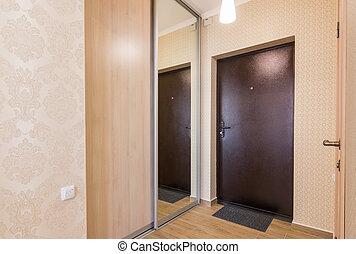 入口, 玄関, 内部, 入口, ドア, そして, built-in, ワードローブ