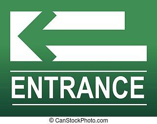 入口, 緑, 印