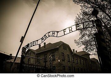 入口, 营房, 波兰, auschwitz, 我, 集中, 主要, 纳粹, 以前
