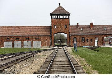 入口, 营房, auschwitz, birkenau, 集中, 主要
