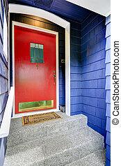 入口, 門廊, 由于, 明亮的紅色, 門
