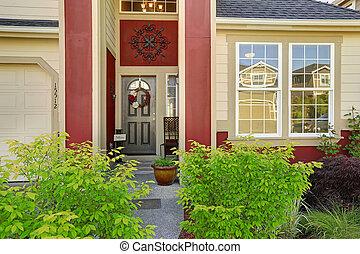 入口, 門廊, 由于, 紅色, 修剪