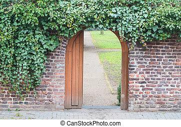 入口, 門, 中に, a, 壁